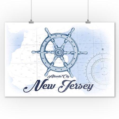 Atlantic City  New Jersey   Ship Wheel   Blue   Coastal Icon   Lantern Press Artwork  9X12 Art Print  Wall Decor Travel Poster
