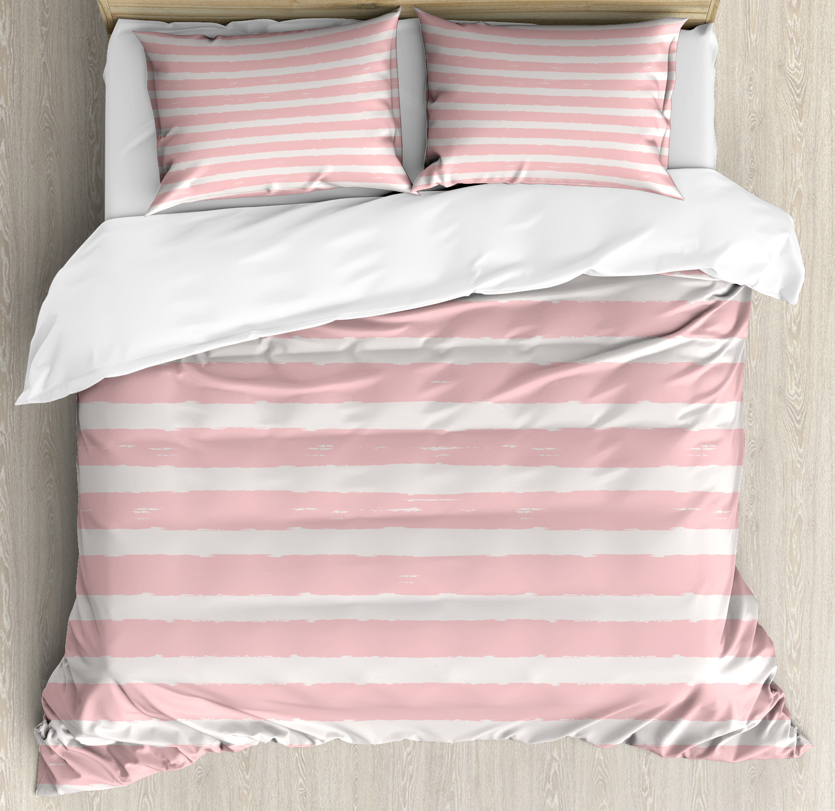 Kids Queen Size Duvet Cover Set, Paint Brushstrokes in Horizontal Direction Pastel Color Pattern for Girls Kids, Decorative 3 Piece Bedding Set with 2 Pillow Shams, Blush Baby Pink, by Ambesonne