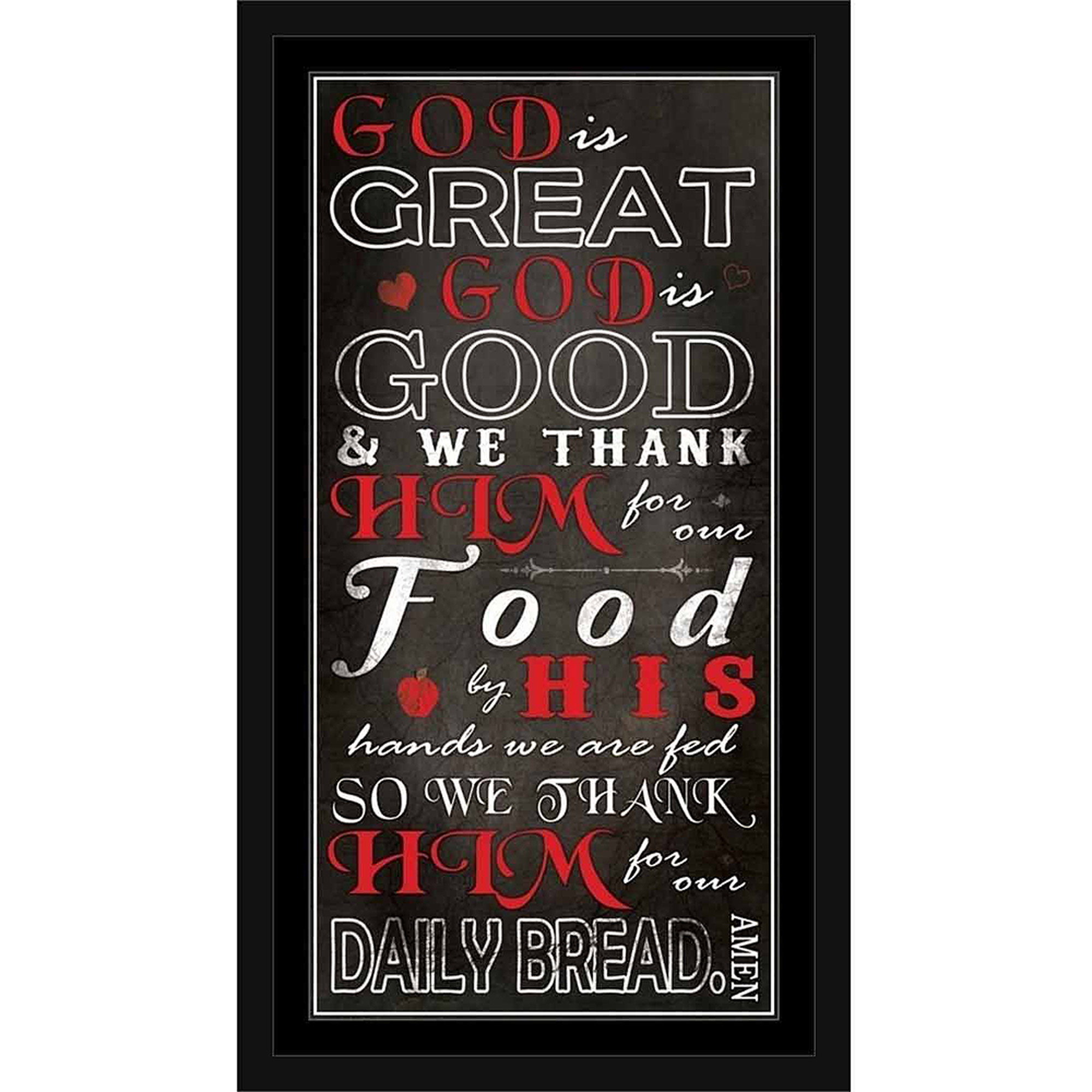 God Is Great God Is Good Kitchen Dinner Prayer Religious Typography Black & Red, Framed... by Circle Graphics