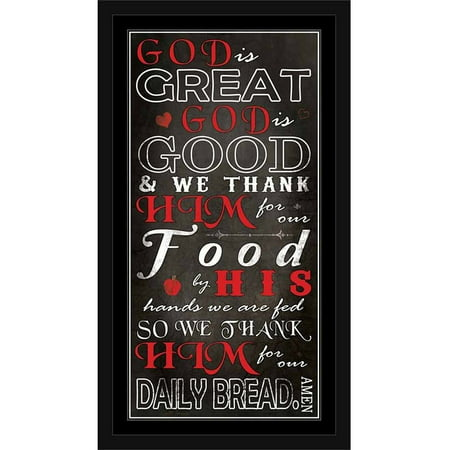 God Is Great God Is Good Kitchen Dinner Prayer Religious Typography Black & Red, Framed Canvas Art by Pied Piper Creative