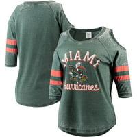 Miami Hurricanes Pressbox Women's Vintage Wash Cold Shoulder Raglan 3/4-Sleeve T-Shirt - Green