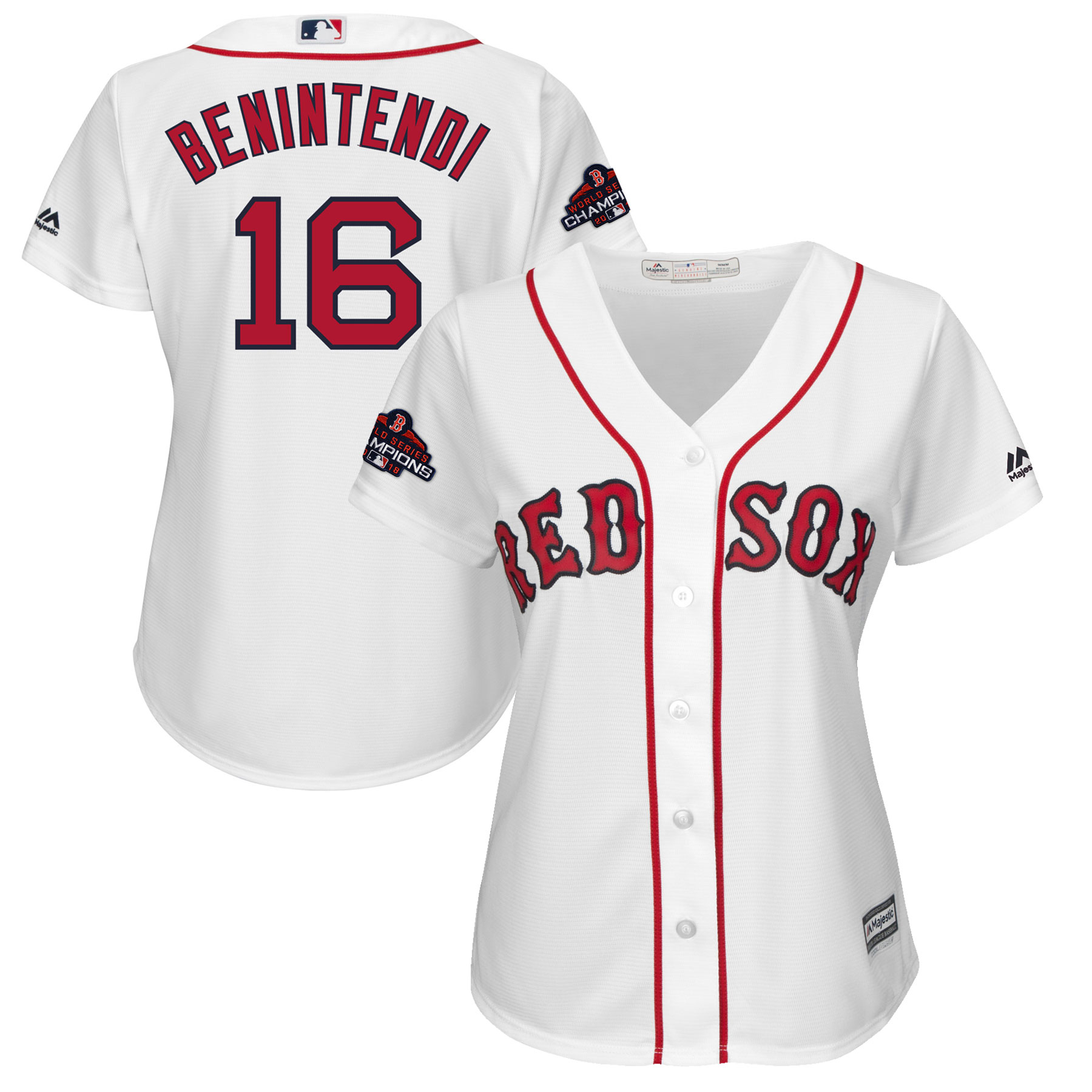 Andrew Benintendi Boston Red Sox Majestic Women's 2018 World Series Champions Team Logo Player Jersey - White