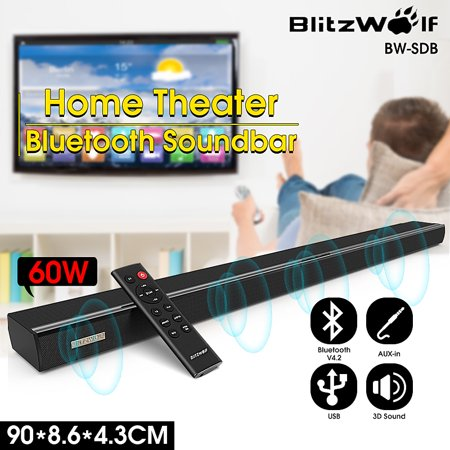 BlitzWolf® 60W 36 inch 2.0 Stereo Channel Wireless bluetooth Sound Bars 360° Surround Wireless Speaker Remote Control for TV Computers with Coaxial/ Optical/ AUX/ ()