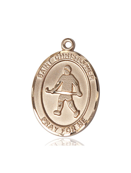 Large 14kt Gold St. Christopher   Field Hockey Medal   Pendant by