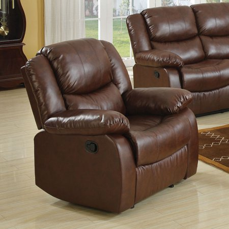 - Acme Fullerton Recliner, Brown Bonded Leather Match