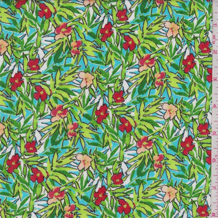 Turquoise Tropical Fl Print Rayon Crepon Fabric By The Yard