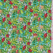 Turquoise Tropical Floral Print Rayon Crepon, Fabric By the Yard