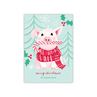 Personalized Holiday Card - Peppermint Pig - 5 x 7 Flat