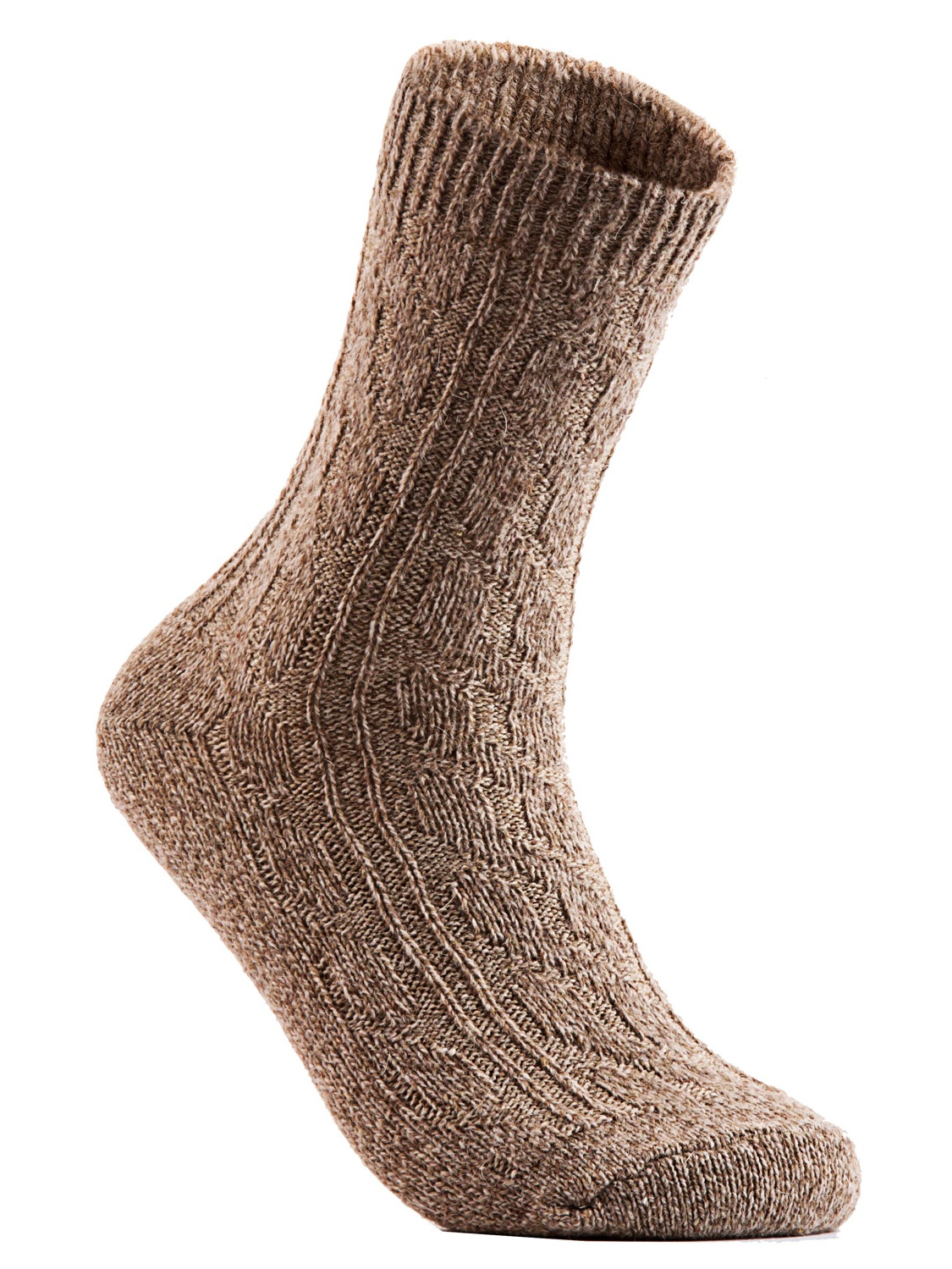 Big Girl's Women's 6 Pairs Pack Fashion Soft Wool Crew Socks One Size AHR1613(Tan)