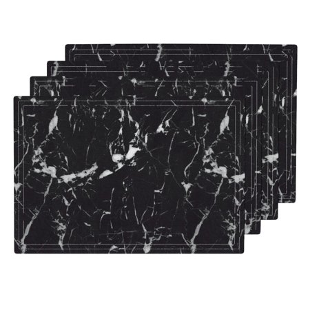 Cloth Placemats Marble Nero Marquina Marble Abstract Monochrome Stone Set of 4