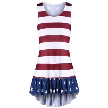 81a90cd6a7b Womail - Womail Fashion Womens Plus Size American Flag Print Ruffles  Bowknot Patriotic Tank Tops - Walmart.com