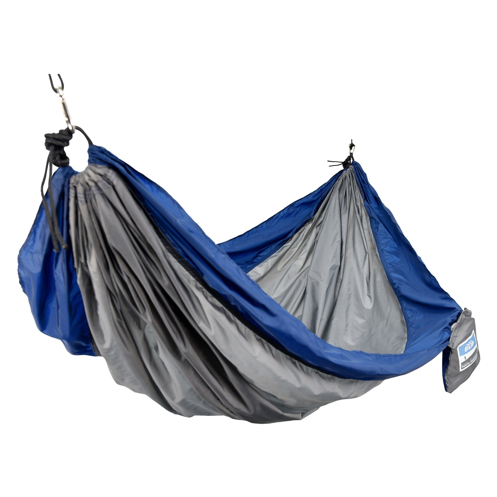 Equip 1-Person Durable Nylon Portable Hammock for Camping, Hiking, Backpacking, Travel, Includes Hanging Kit, Navy/Grey