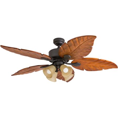 """Prominence Home 52"""" Royal Palm Bronze, LED 4-Light, Hand Carved Blades with Remote"""
