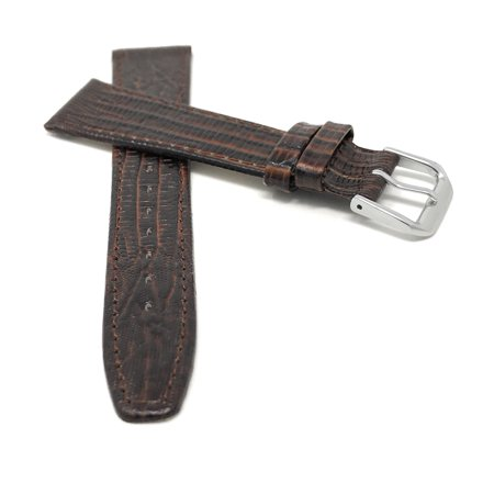 20mm Bracelet de montre en cuir véritable, fin, motif lézard - image 1 de 7