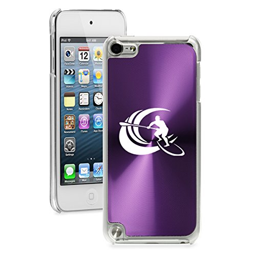For Apple iPod Touch 5th / 6th Generation Hard Back Case Cover Stand Up Paddle Board Surf (Purple)