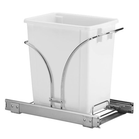 Household Essentials 5-Gallon Sliding Waste Can Storage Caddy, Chrome