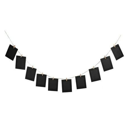10pcs DIY 6inch Hanging Album Clip Kraft Paper Photo Frame Strings Rope Clips Sets for Wedding Decoration Garland (Black)
