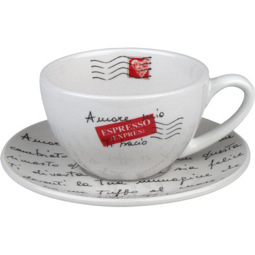 Konitz Coffee Bar Amore Mio 6 oz. Cappuccino Cup and Saucer (Set of 4)