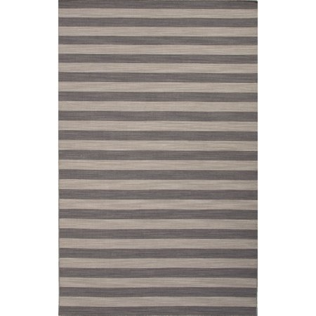 5' x 8' Stone Gray and Light Gray Bosque Flat-Weave Stripe Pattern Wool Area Throw Rug