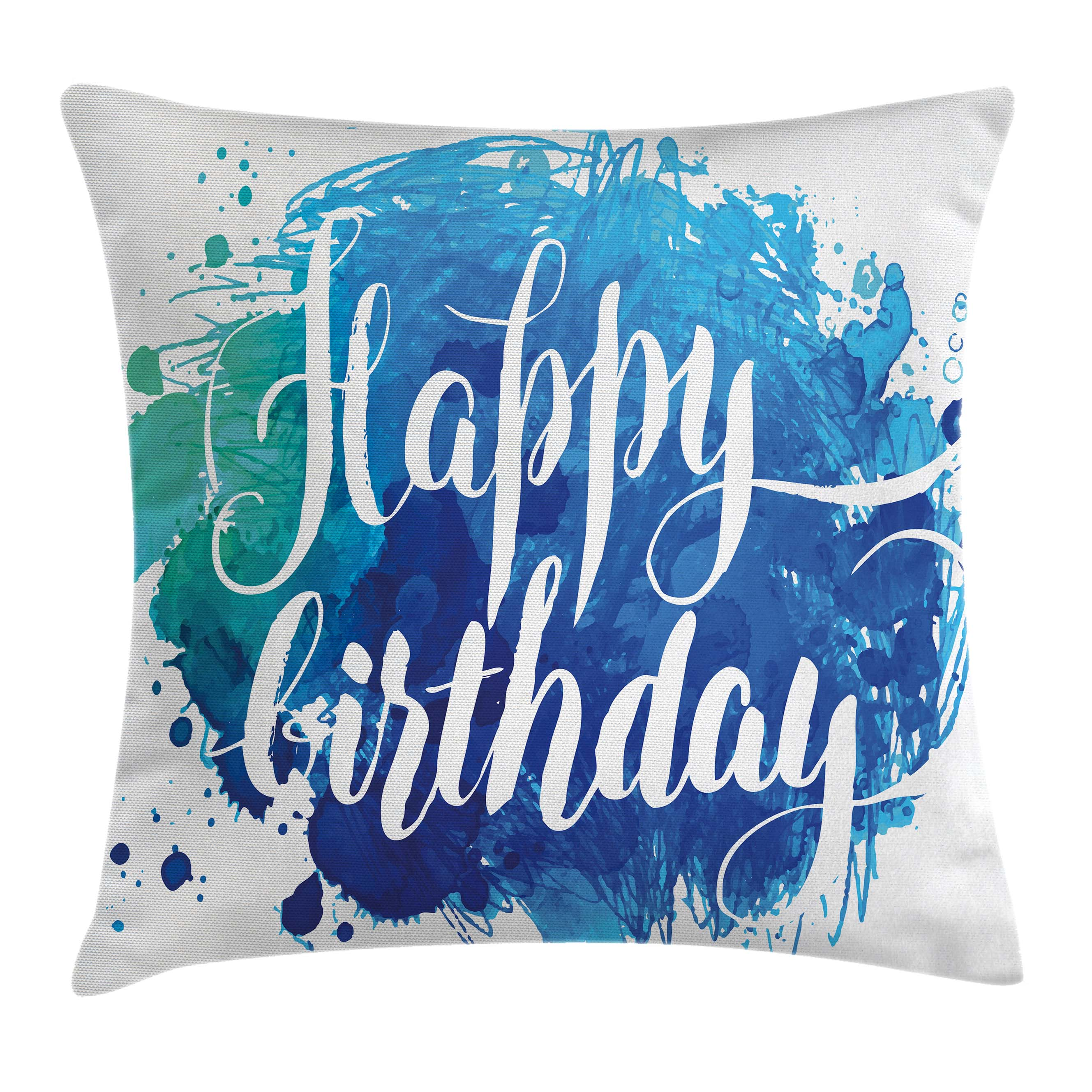 Birthday Decorations Throw Pillow Cushion Cover, Watercolor Greeting Card Inspired Display with Text Brushstrokes, Decorative Square Accent Pillow Case, 16 X 16 Inches, Blue Green White, by Ambesonne