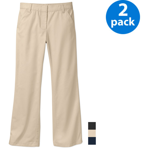 George Girls School Uniforms Flat Front Pants Sizes 4-16 w/Scotchgard, 2-Pack Online Exclusive