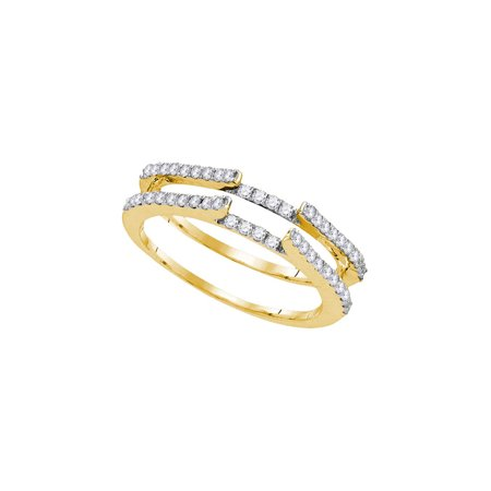 14kt Yellow Gold Womens Round Diamond Ring Guard Wrap Solitaire Enhancer 1/2 Cttw (Gold Diamond Solitaire Ring Guard)