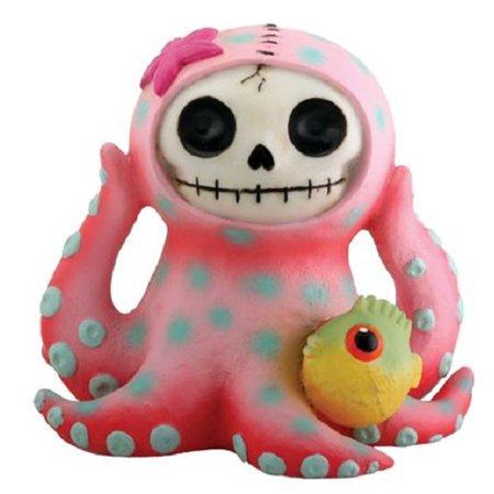 Furrybones Octopee Skeleton in Pink Octopus Costume with Puffer Fish Figurine - Punk Skeleton