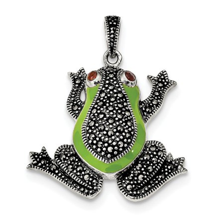 - Sterling Silver Marcasite With Garnet and Green Epoxy Frog Pendant