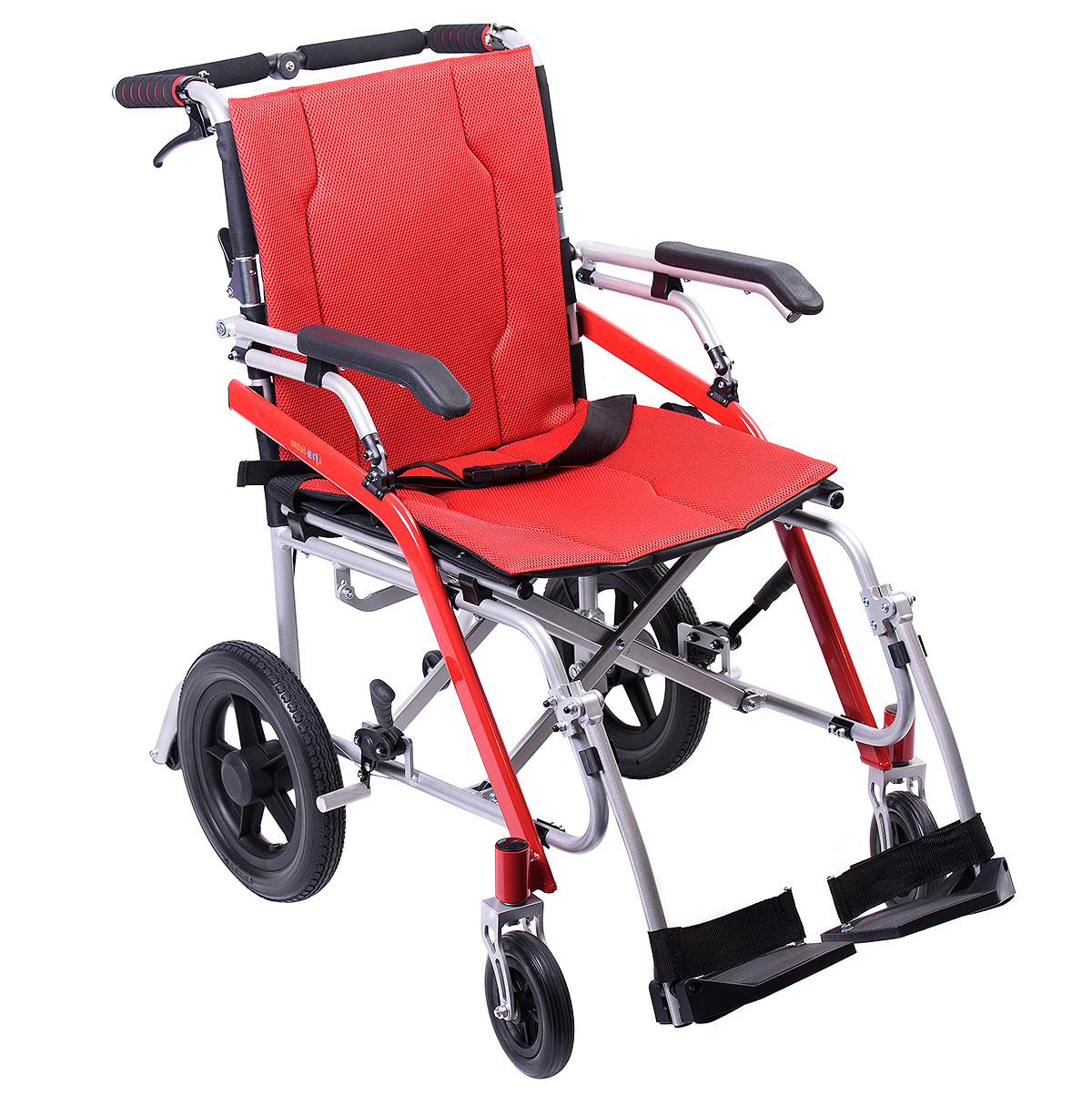 Hi-Fortune Lightweight Transport Medical Wheelchair with Adjustable Armrests and Hand Brakes, Portable and Folding with Magnesium Alloy, 18? Seat, Red, 21lbs