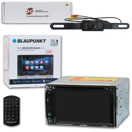 Blaupunkt MIAMI620 Car Audio Double Din 2DIN 6.2 Touchscreen DVD MP3 CD Stereo Bluetooth with DiscountCentralOnline HL09 Waterproof Nightvision back-up camera (Blaupunkt Car Audio)