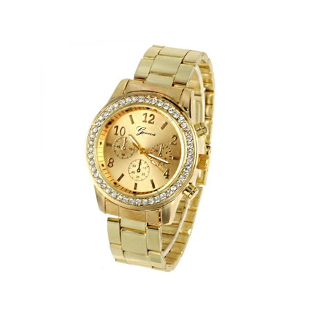 Gold plating Steel Roman Numeral Dials With Rhinestones  Wrist Watches For Man and woman AMZSE