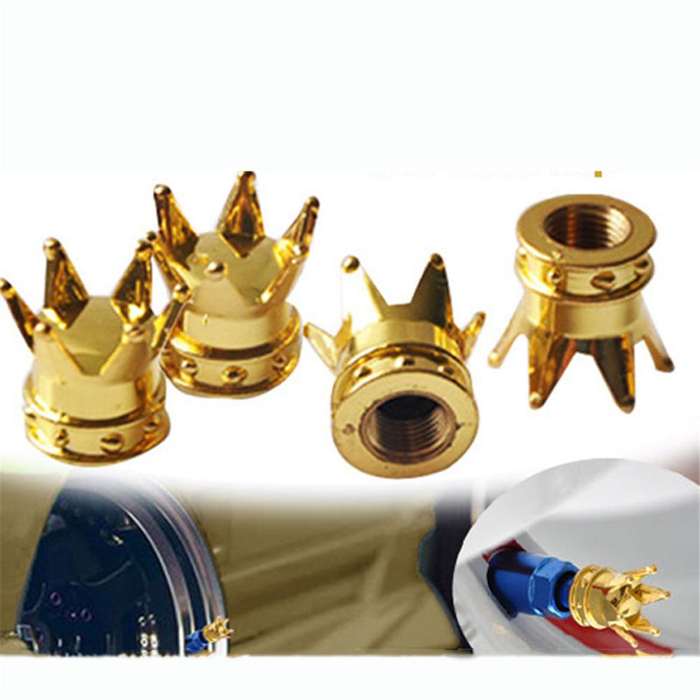 4Pcs Universal Golden Crown Car Truck Tire Air Valve Stem Cover Caps Wheel Rims