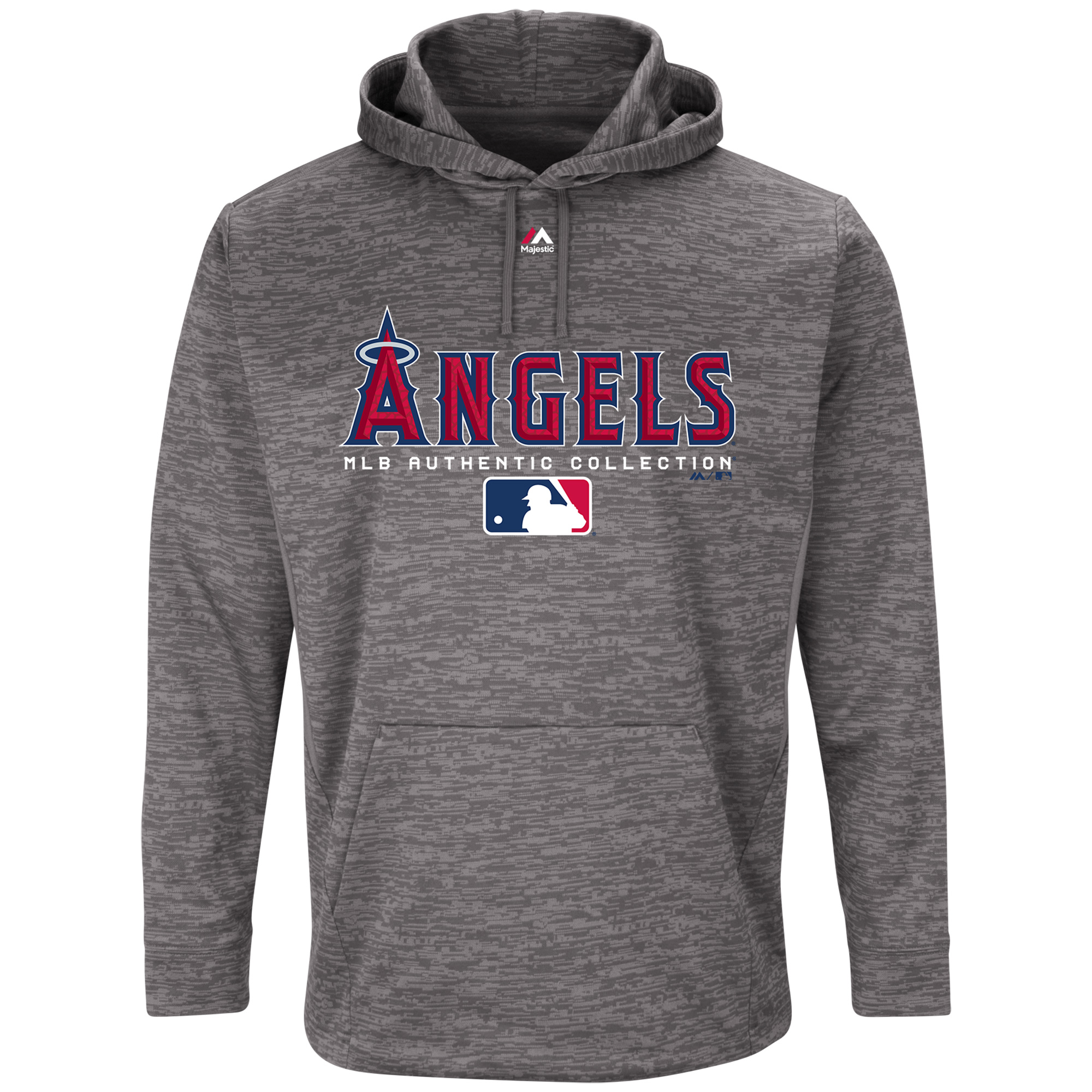 Los Angeles Angels Majestic Authentic Collection Team Drive Ultra-Streak Fleece Therma Base Pullover Hoodie - Graphite