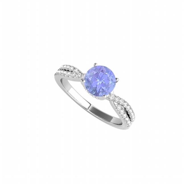 Fine Jewelry Vault UBUNR50843EW14CZTZ Criss Cross Tanzanite & Cubic Zirconia Ring in 14K White Gold, 32 Stones by Fine Jewelry Vault