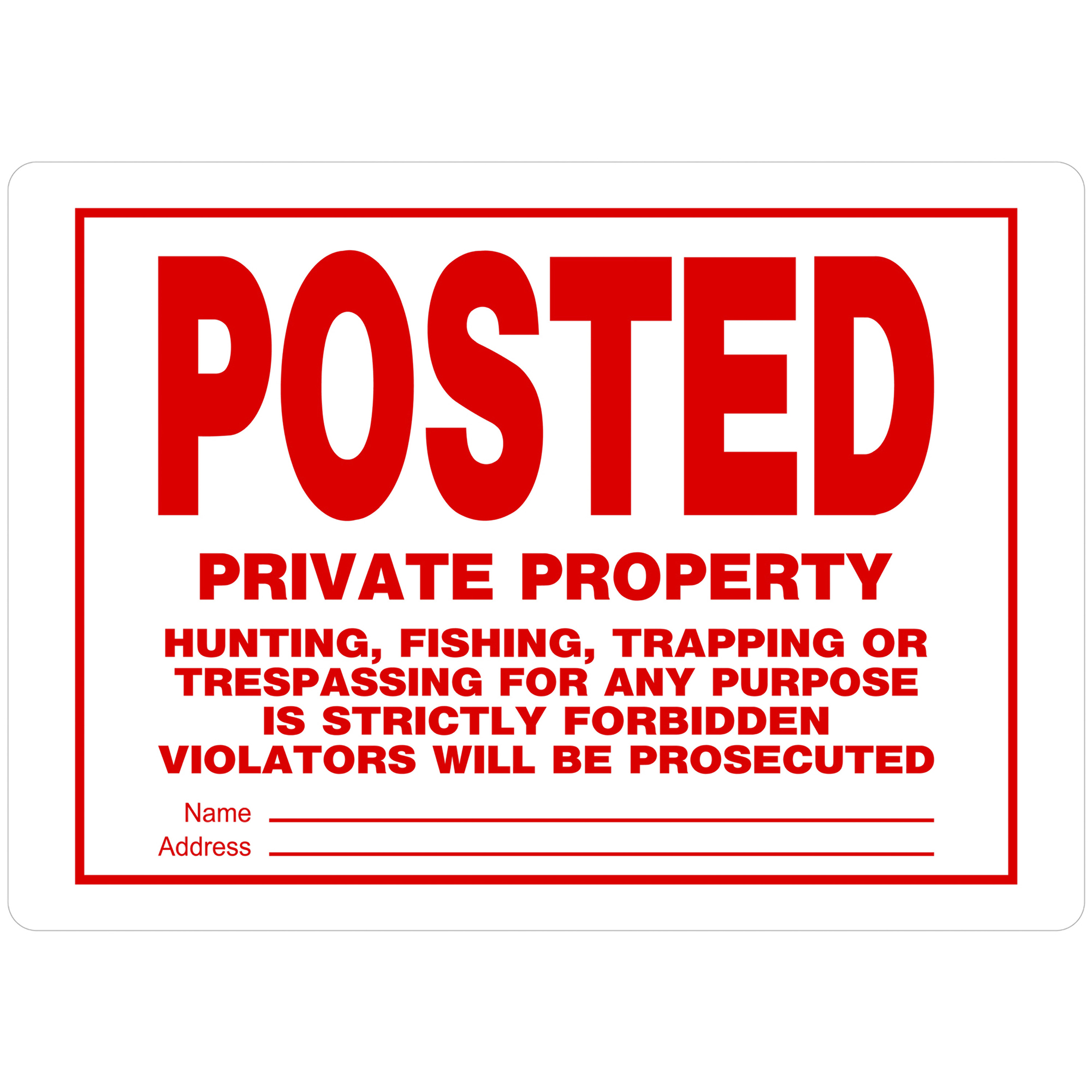 "The Hillman Group 10"" x 14"" Aluminum No Trespassing/Hunting Sign"