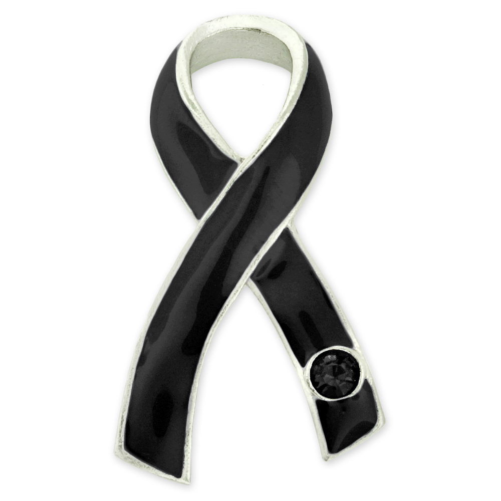 Pinmart s Black Awareness Ribbon with Black Rhinestone En...