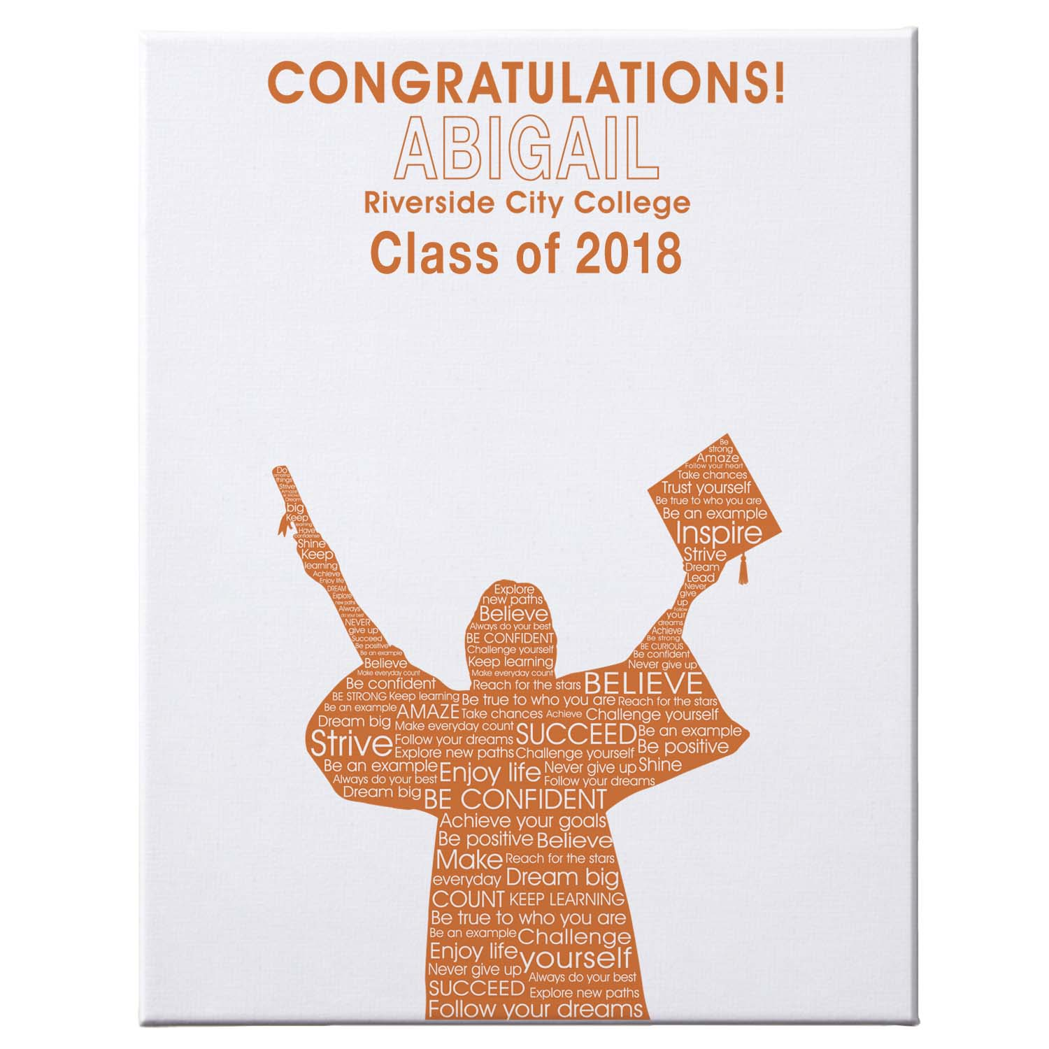 "Personalized Graduation Autograph Canvas, 16"" x 20"", Female, Available in 7 Colors"