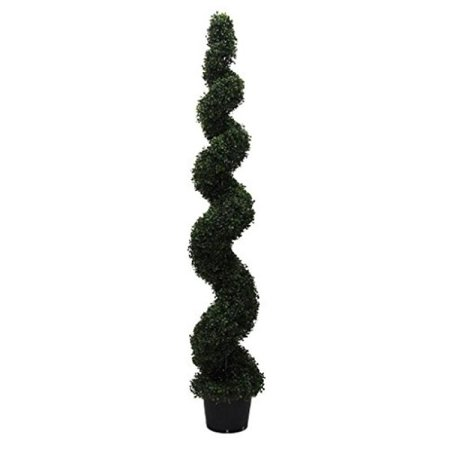 Vickerman 6' Artificial Potted Green Boxwood Spiral Tree UV Resistant - image 1 de 1