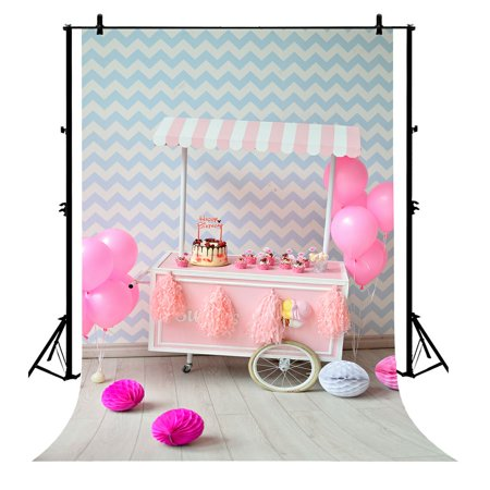 GCKG 7x5ft Happy Newborn Birthday Polyester Photography Backdrop Photo Background Studio Props - image 4 of 4