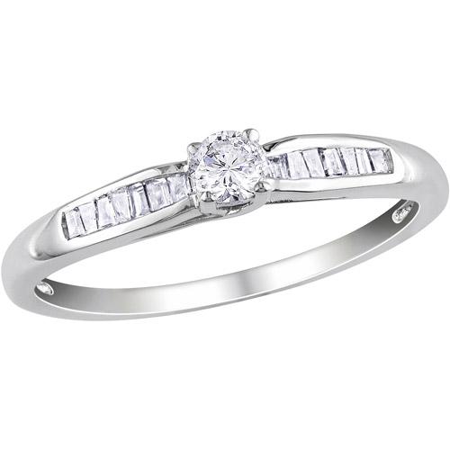 Miabella 1/4 Carat T.W. Diamond 10kt White Gold Engagement Ring
