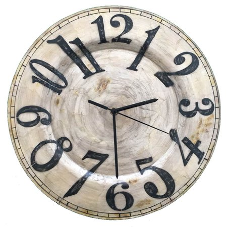 Clock Wall Decor in Pearl with Black Numbers ()