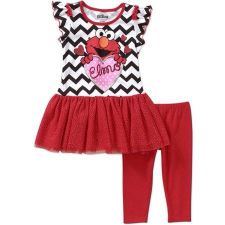 8c6fe8e5be4f1 Sesame Street - Elmo Baby Toddler Girl Chevron Tunic and Leggings ...