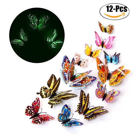 Outgeek 12 PCS Wall Stickers Creative Luminous Double Layers 3d Butterfly Wall Stickers Decals Wall Art Decors for Home Bedroom Living Room TV Background Wall Kitchen Fridge Window Kids - 3d Halloween Backgrounds