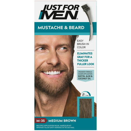 Just For Men Mustache & Beard, Beard Coloring for Gray Hair with Brush Included - Color: Medium Brown, M-35 Just 5 Colorant