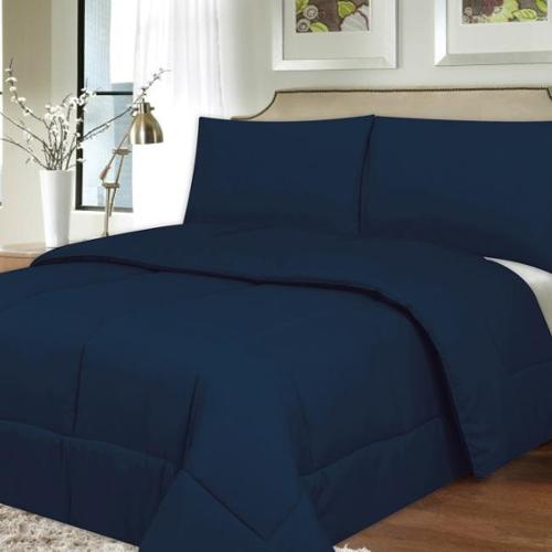 All Season Hypo-Allergenic Lightweight Down Alternative Comforter Comforter, navy, king