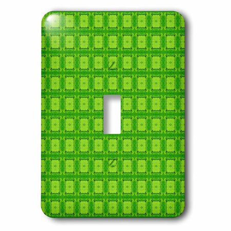 Green Light Switch Covers (3dRose Neon Green Dot Rectangle Pattern, Single Toggle)