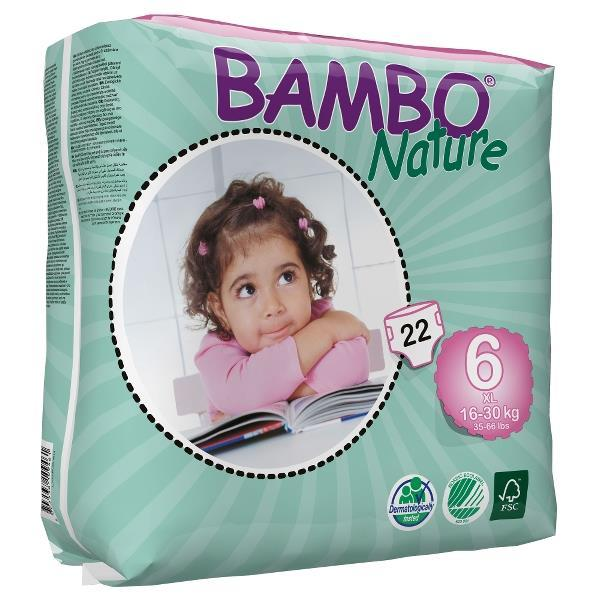 Bambo Nature Baby Diaper Tab Closure Size 6, Heavy Absorb...