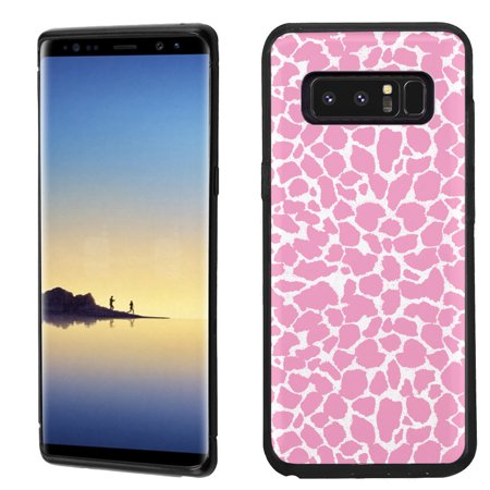 Giraffe Folded Note - Slim-Fit case for Samsung Galaxy Note 8, OneToughShield ® TPU Gel Protector Phone Case (Black Bezel) - Giraffe/Pink