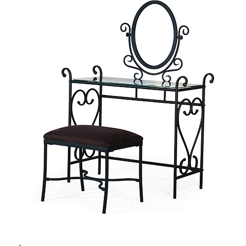 3 Piece Metal Scrolls Vanity Set, Black