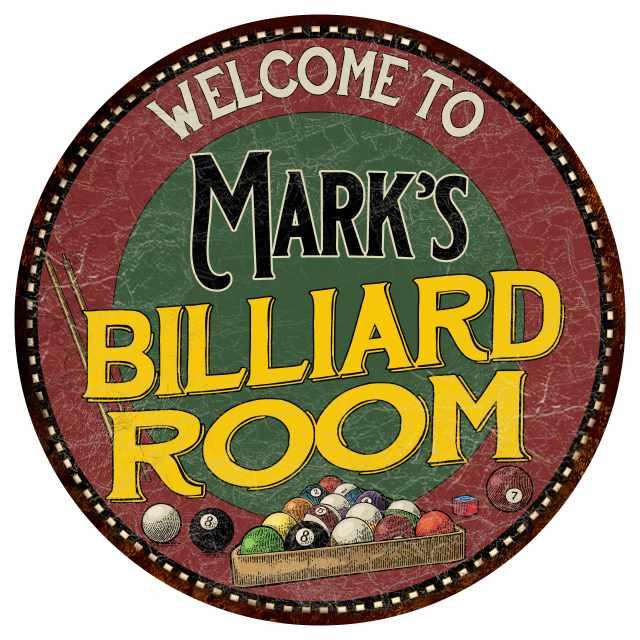 "Mark's Billiard Room 14"" Round Metal Sign Kitchen Bar Red Wall Décor MR14127090"